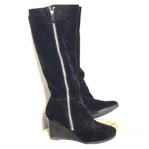 Tall Franco Sarto BLACK SUEDE Wedge Boot